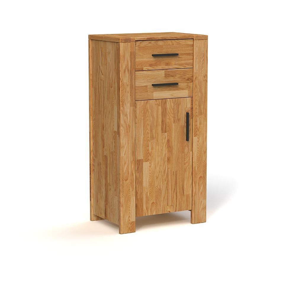 Cabinet din lemn masiv de stejar Cubic natural, L67xl45xh128 cm