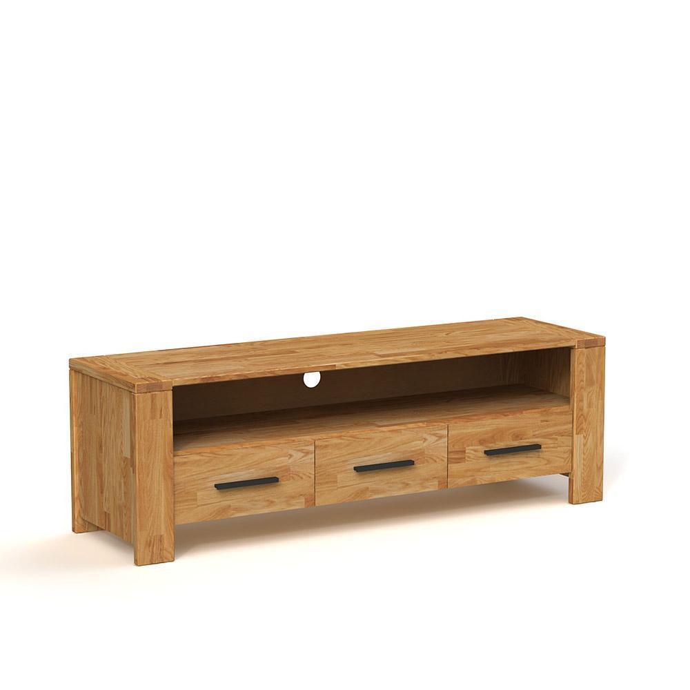 Comoda TV cu 3 sertare din lemn masiv de stejar natural Cubic, L155xl45h51 cm