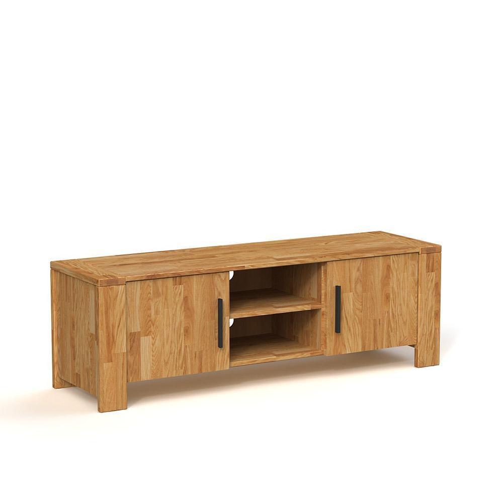 Comoda TV din lemn masiv de stejar natural Cubic, L155xl45h51 cm