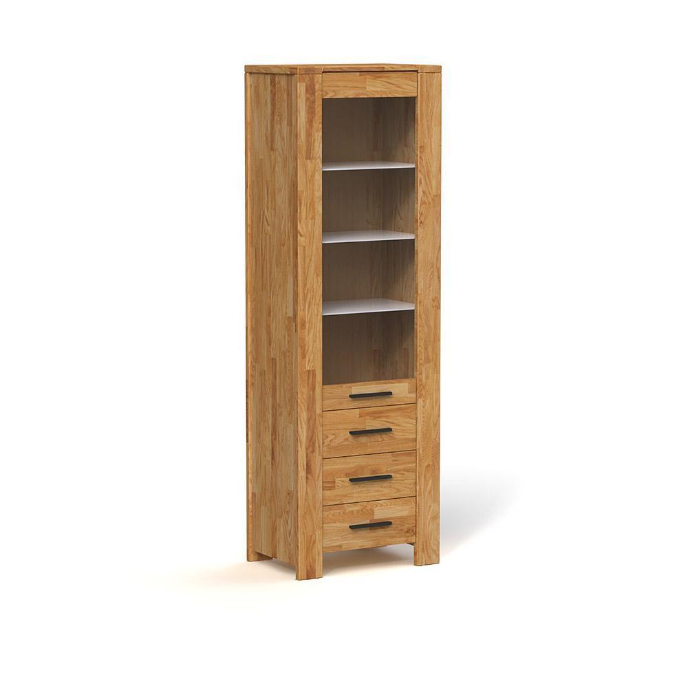Vitrina cu 3 sertare din lemn masiv de stejar Cubic, L67xl45xh205 cm