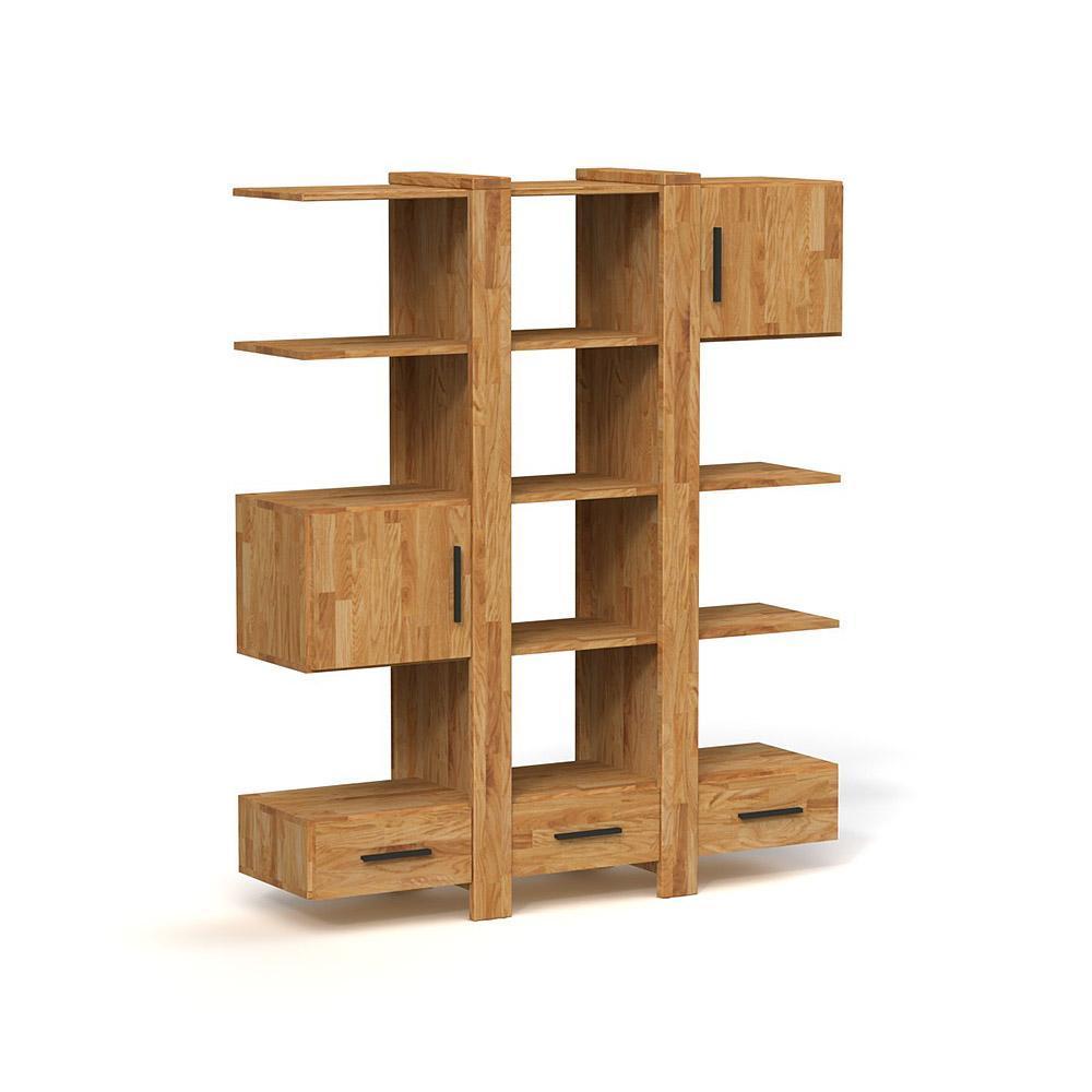 Biblioteca din lemn masiv de stejar natural Cubic, L158xl45xh187 cm