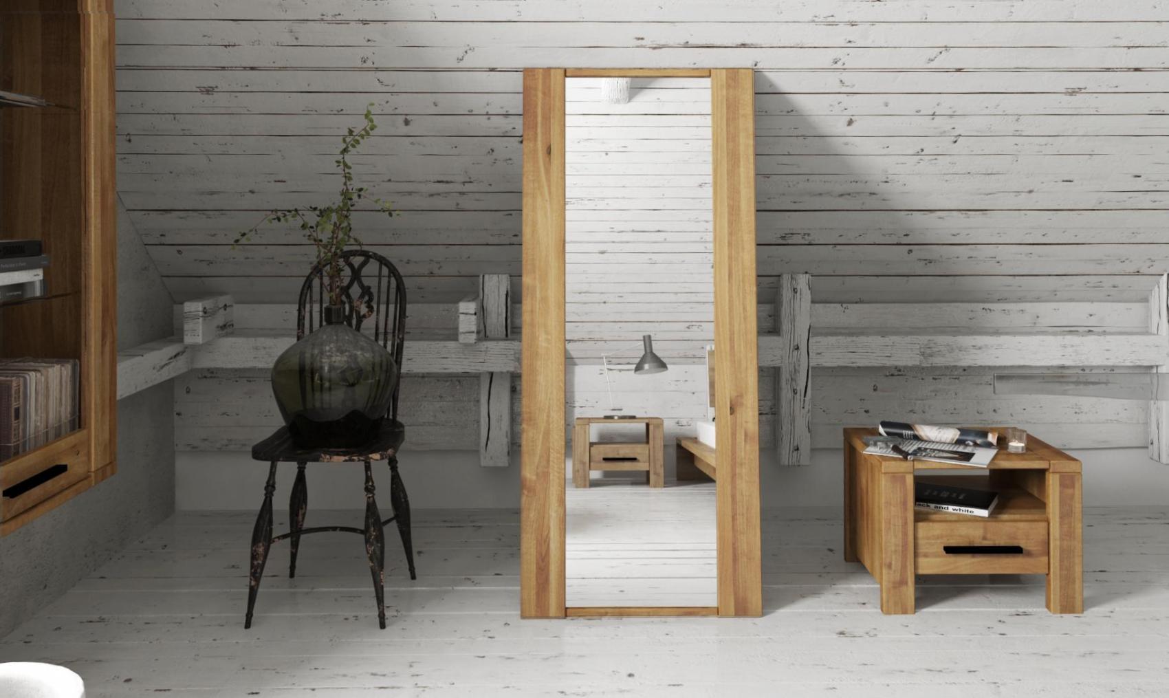 Oglinda decorativa din lemn masiv de stejar natural Cubic, L110xl60 cm