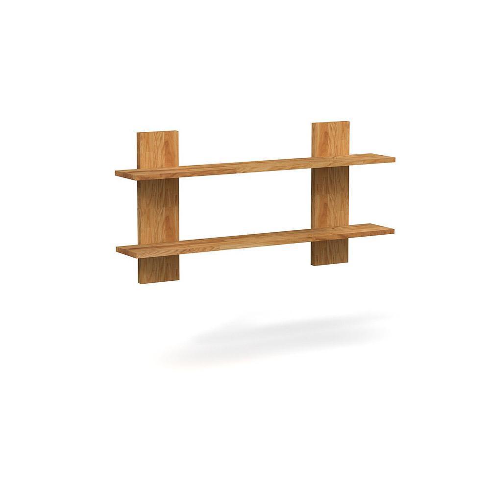 Etajera din lemn masiv de stejar natural Cubic, L120xl21xh60 cm