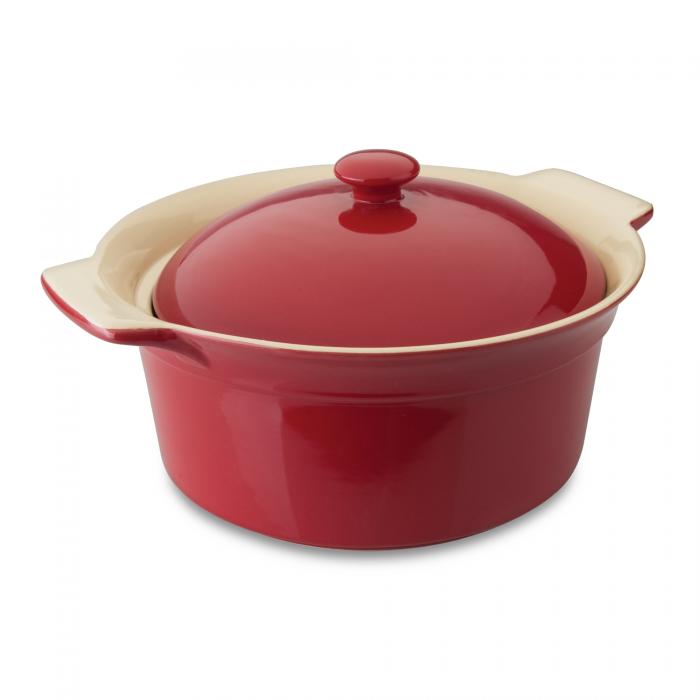Vas ceramic rotund cu capac, Red, Geminis Line