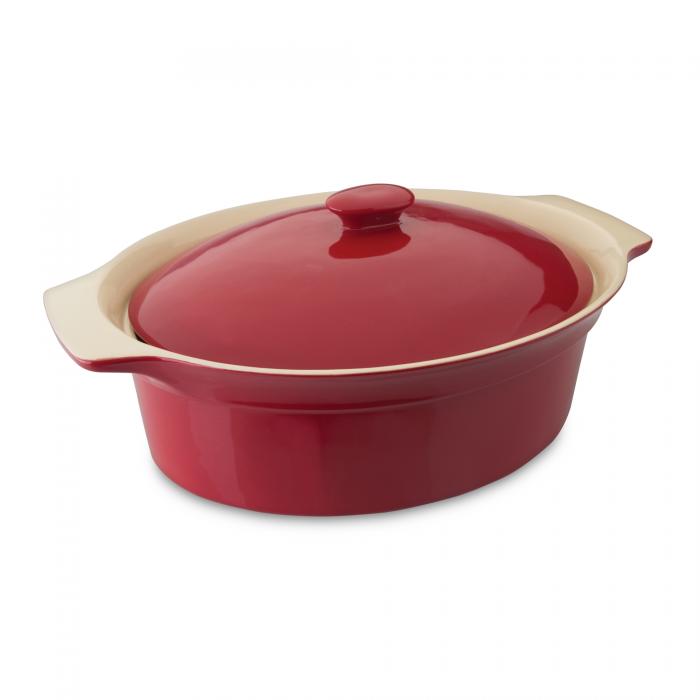 Vas Ceramic Oval Cu Capac  Red  Geminis Line