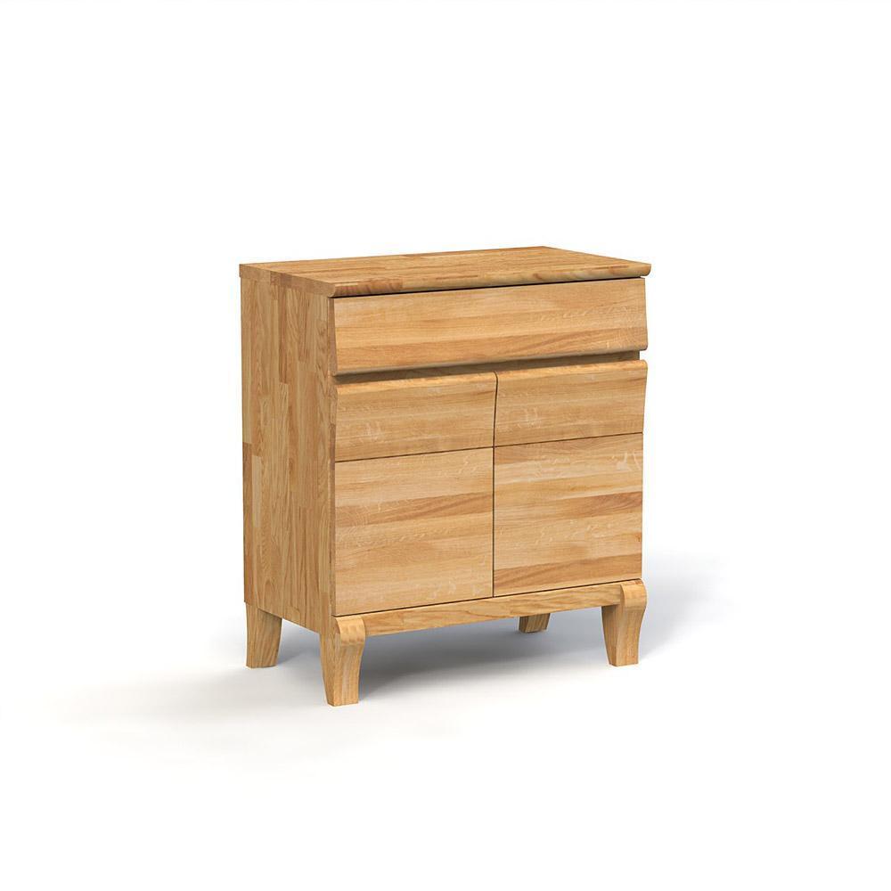 Comoda cu 2 usi din lemn masiv de stejar natural Bona, L80xl46h92 cm