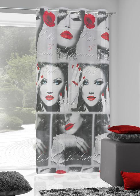 Perdea Kiss 140X250 Gri Inchis/Rosu 1 buc
