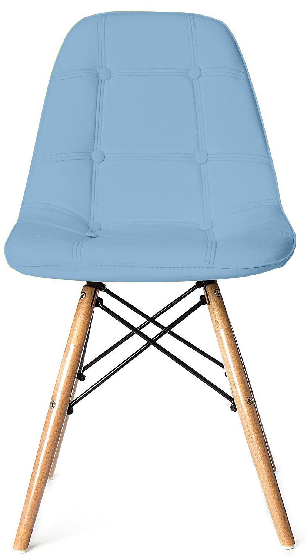 Scaun tapitat cu piele ecologica si picioare de lemn Iars Blue l41xA36xH83 cm