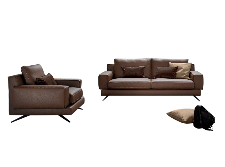 Canapea fixa 3 locuri tapitata cu piele ecologica Kennedy, l218xA97xH84 cm