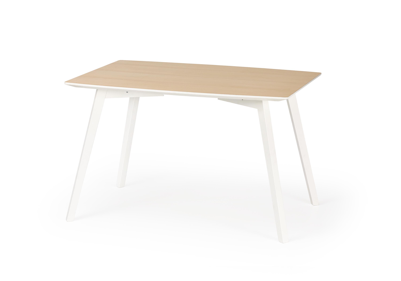 Masa din MDF si lemn de fag Petrus White / Wood, L120xl85xh75 cm imagine
