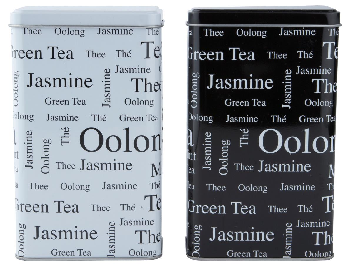 Set 2 Cutii metalice Tea, Black / White, KJ, 0,8 L, 202183