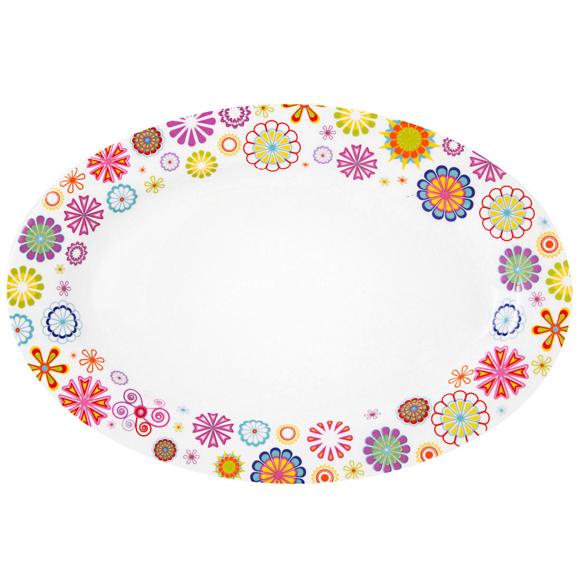 Platou servire oval 22 cm Portelan Blumen