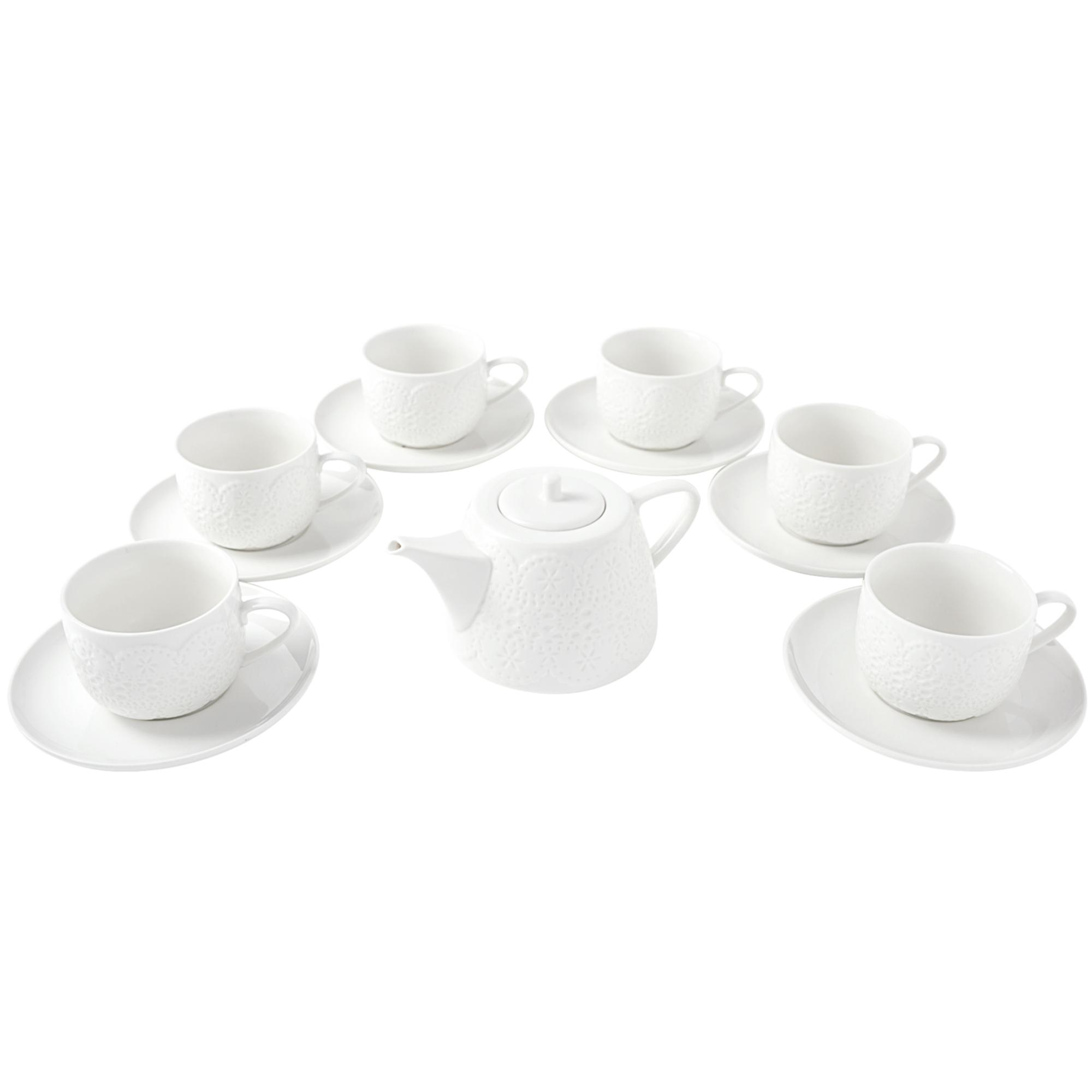 Set Ceai 13 piese, Portelan, Lacy White