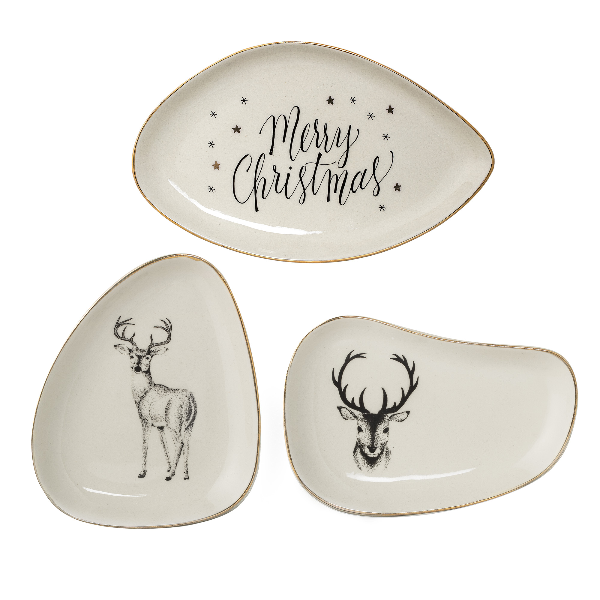 Set 3 Farfurioare Noel Plate, White imagine