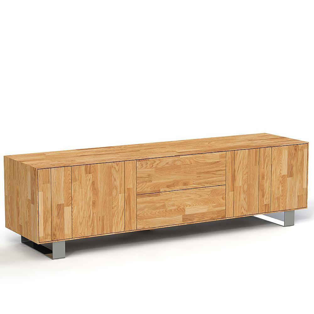 Comoda din lemn masiv de stejar natural Steel, L198xl50xh56 cm