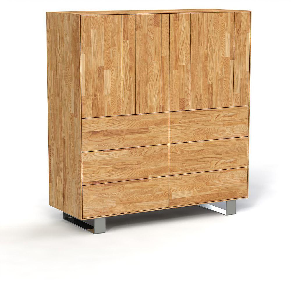 Comoda din lemn masiv de stejar natural Steel, L132xl50xh143 cm