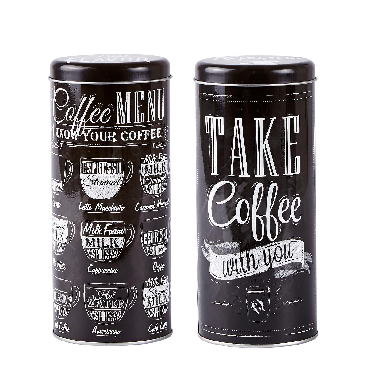 Set 2 Cutii metalice Coffee Menu, Black, KJ, 0,7 L, 261110