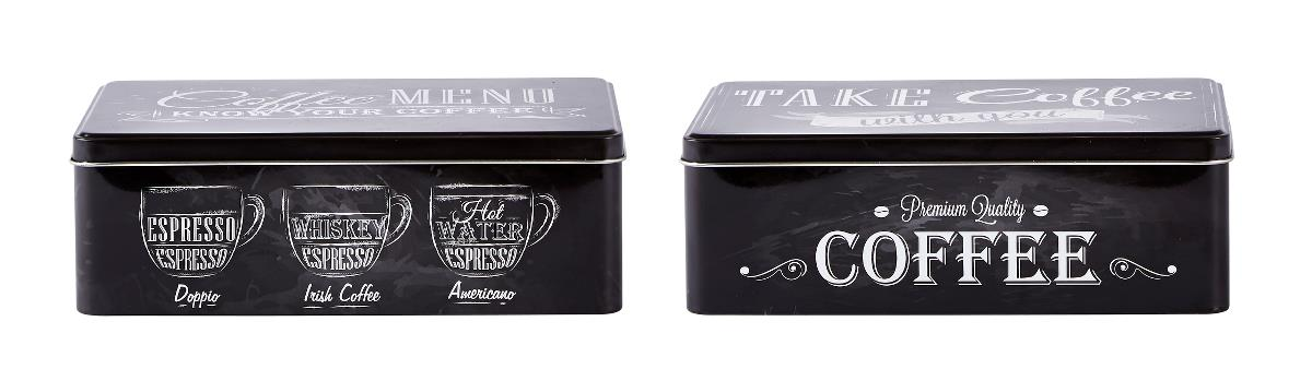 Set 2 Cutii metalice Coffee, Black, KJ, 1,25 L, 261111