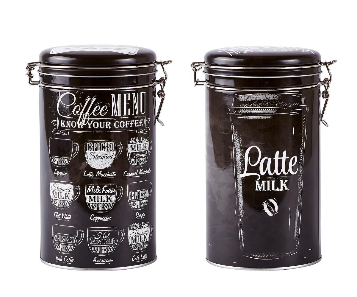 Set 2 Cutii metalice Coffee Menu, Black, KJ, 1,5 L, 261112