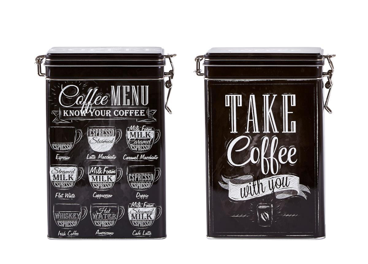 Set 2 Cutii metalice Take Coffee, Black, KJ, 1,5 L, 261113