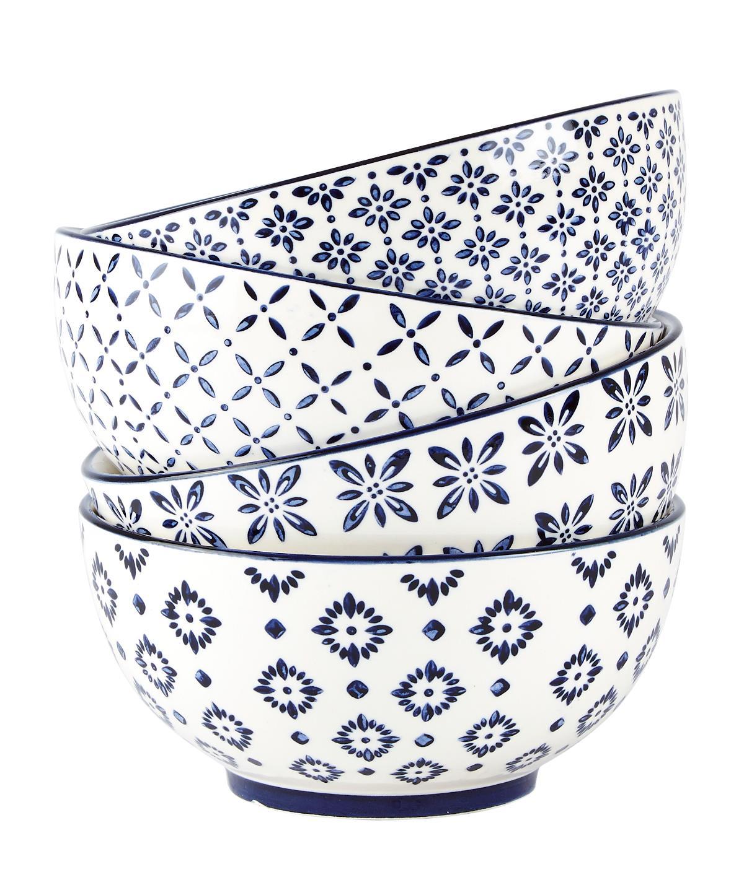 Bol Villa Collection, White / Blue, 600 ml, 262043