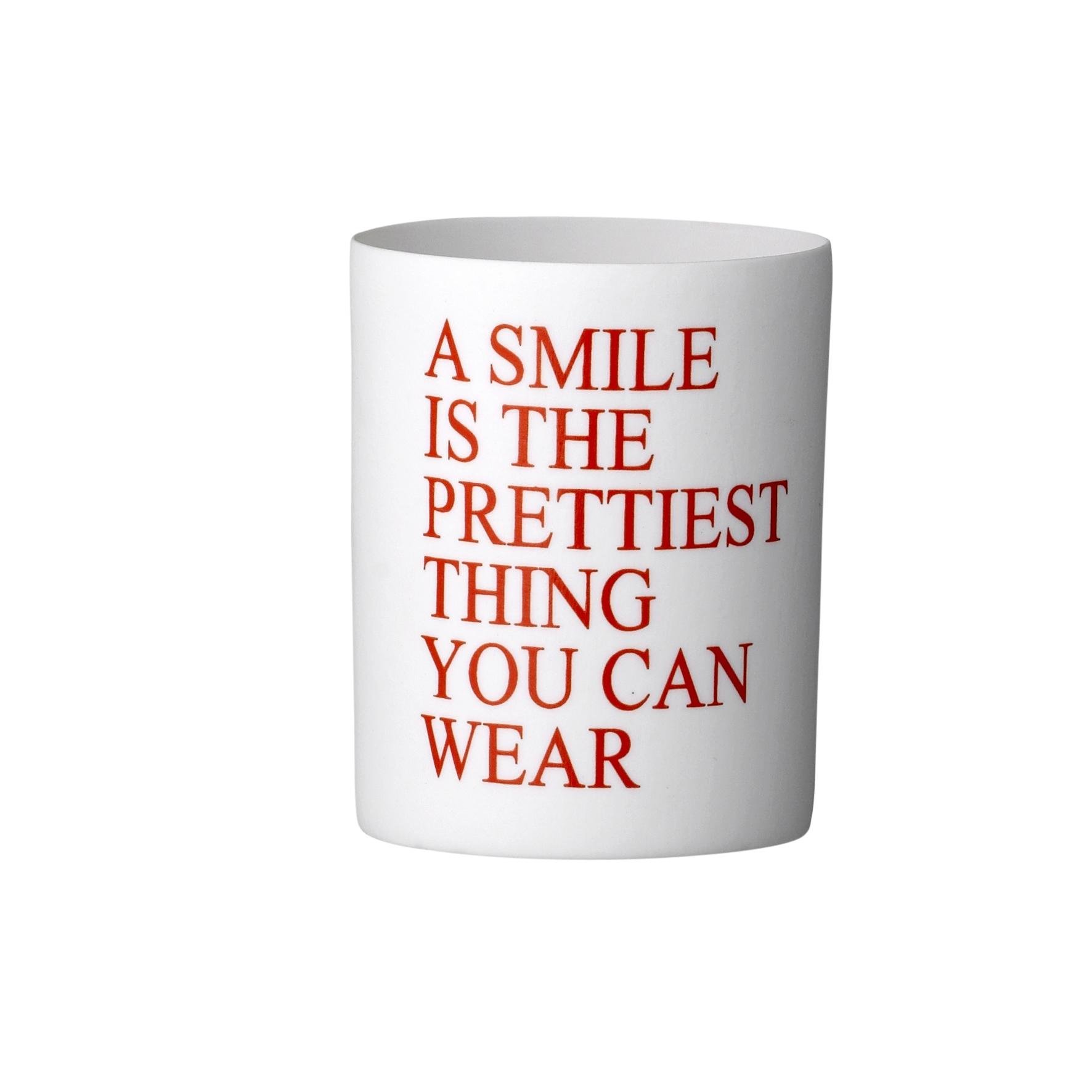 Pahar Smile Votive, White, Ø7,5xH9,2 cm