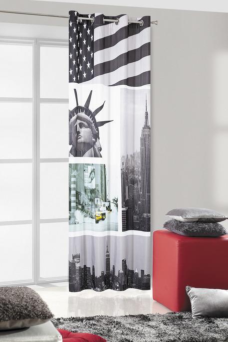 Draperie New York 135 x 245 cm 1 bucata Gri / Galben