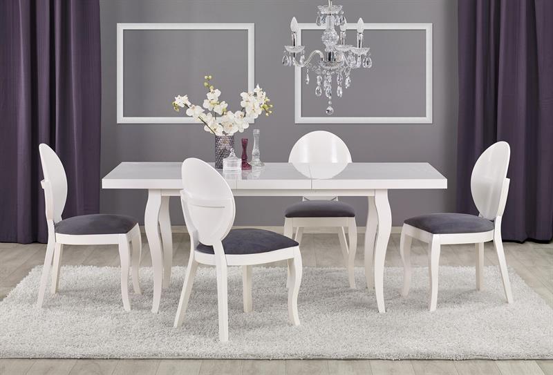Set masa extensibila din lemn de fag si MDF Mozart Alb + 4 scaune tapitate cu stofa Verdi Alb / Gri, L140-180xl80xH75 cm imagine
