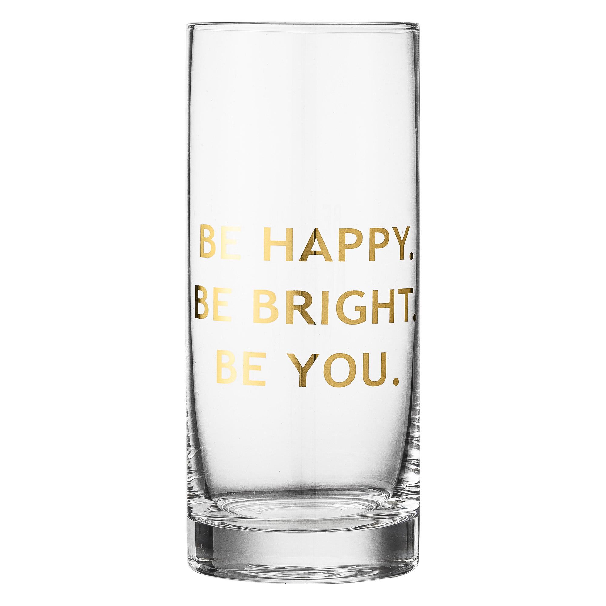 "Pahar ""Be Happy… "" Transparent/Auriu, Sticla, Ø7xH16,5 cm"