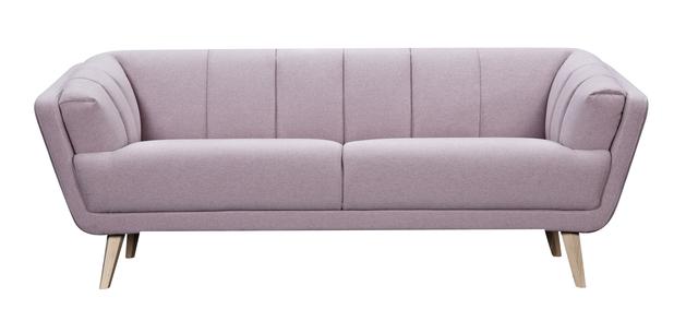 Canapea fixa tapitata cu stofa 3 locuri Loft Pink l204xA89xH77 cm