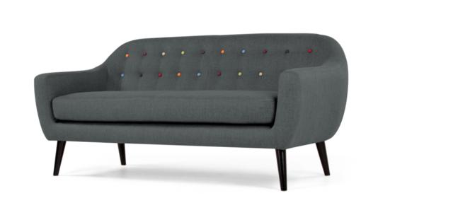 Canapea fixa tapitata cu stofa Hannah Dark Grey