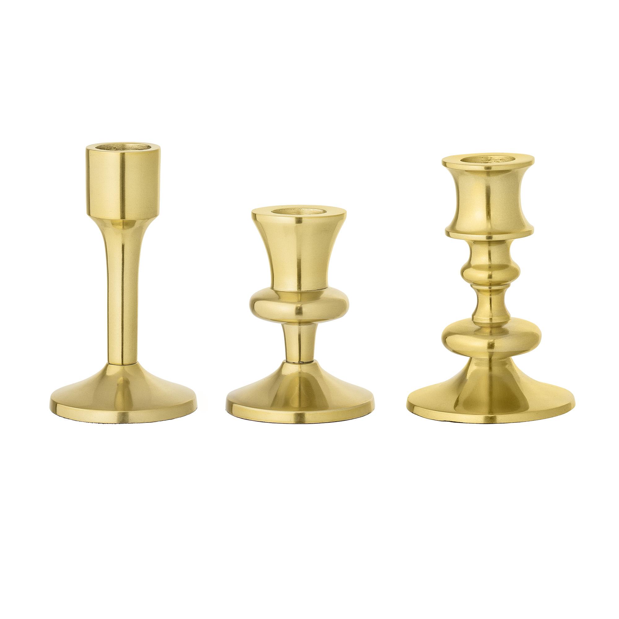 Set 3 suporturi pentru lumanari Gold