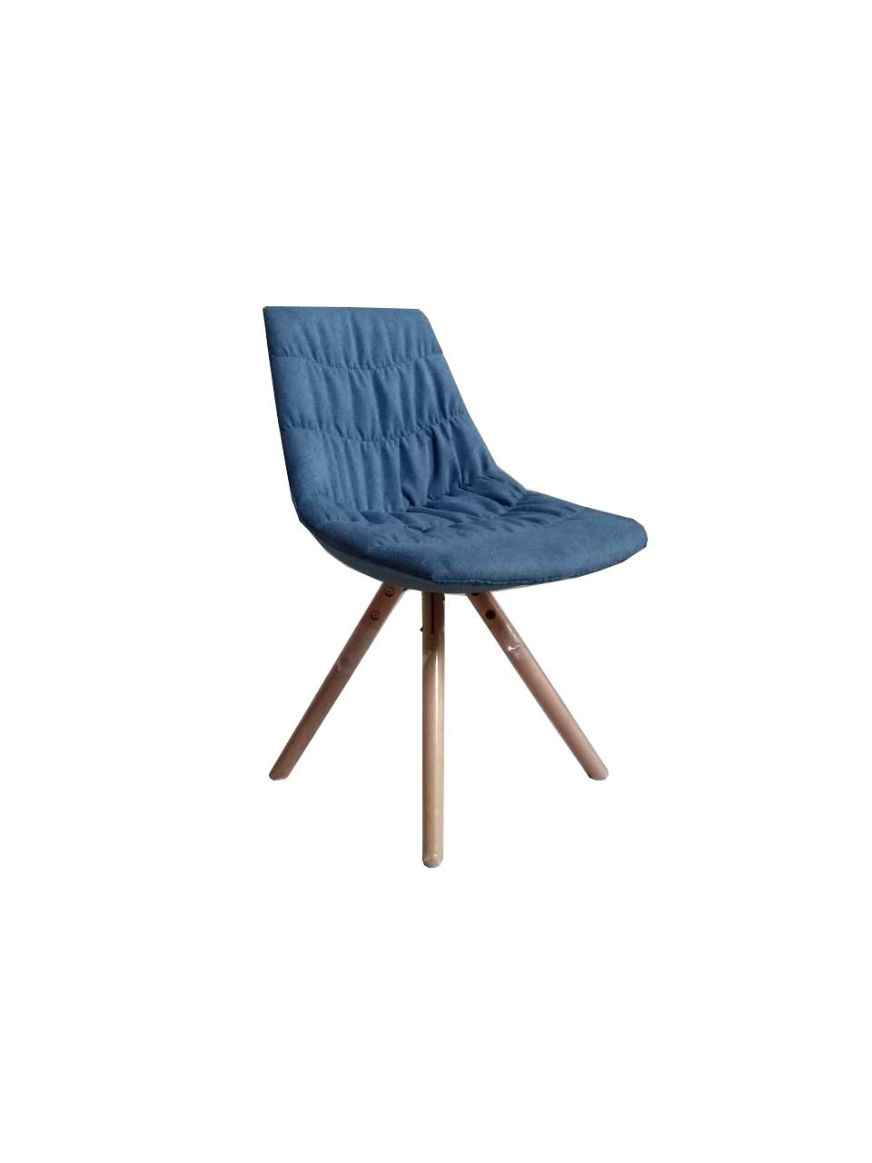 Scaun tapitat cu stofa, cu picioare de lemn Joy Dark Blue l47xA54xH80 cm