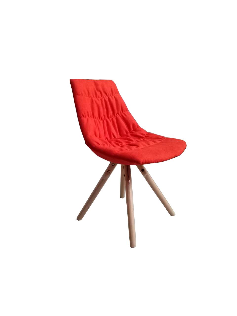 Scaun tapitat cu stofa, cu picioare de lemn Joy Red l47xA54xH80 cm