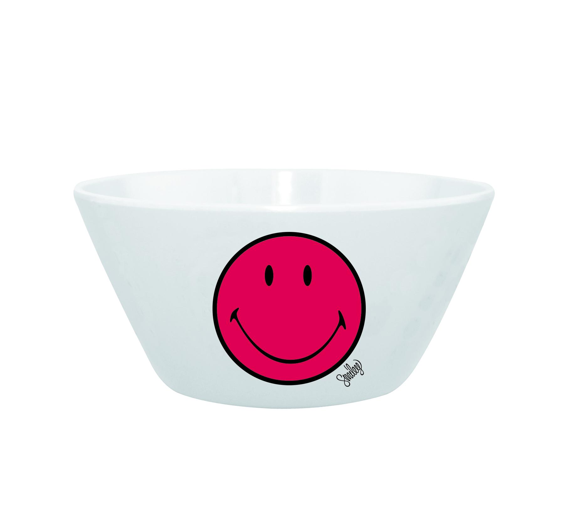 Mini Bol pentru cereale Smiley Visiniu/Alb, Ø15 cm imagine