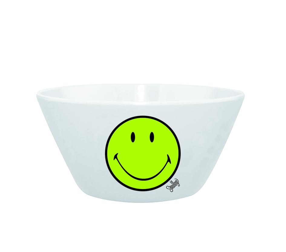 Mini Bol pentru cereale Smiley Verde/Alb, Ø15 cm imagine