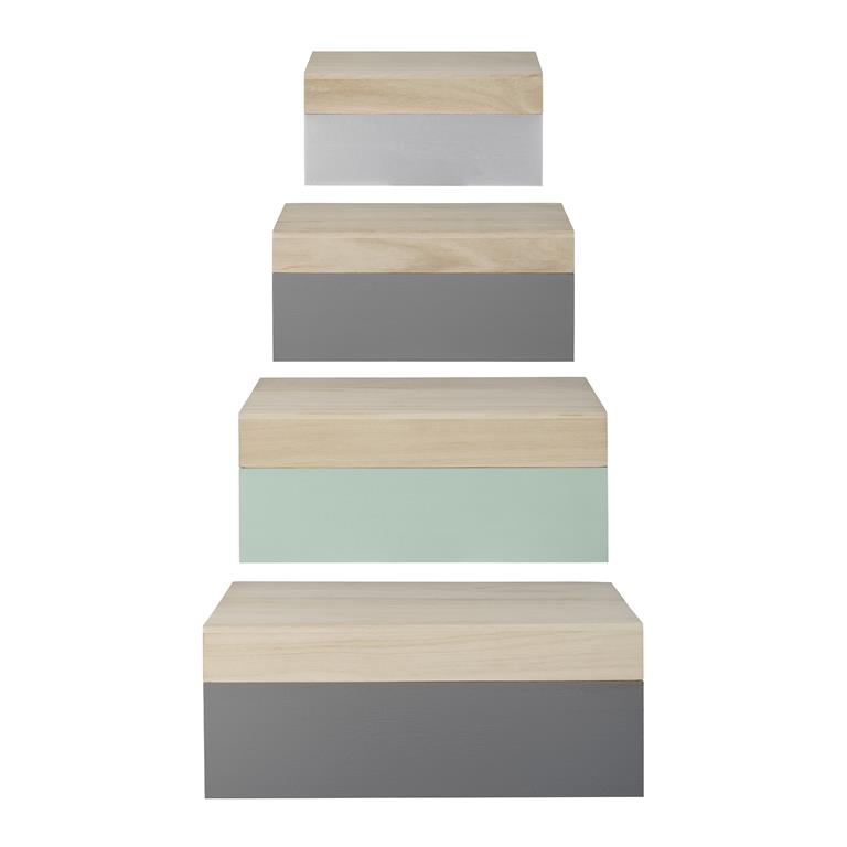 Set 4 Cutii depozitare Bleu/Gri/Verde