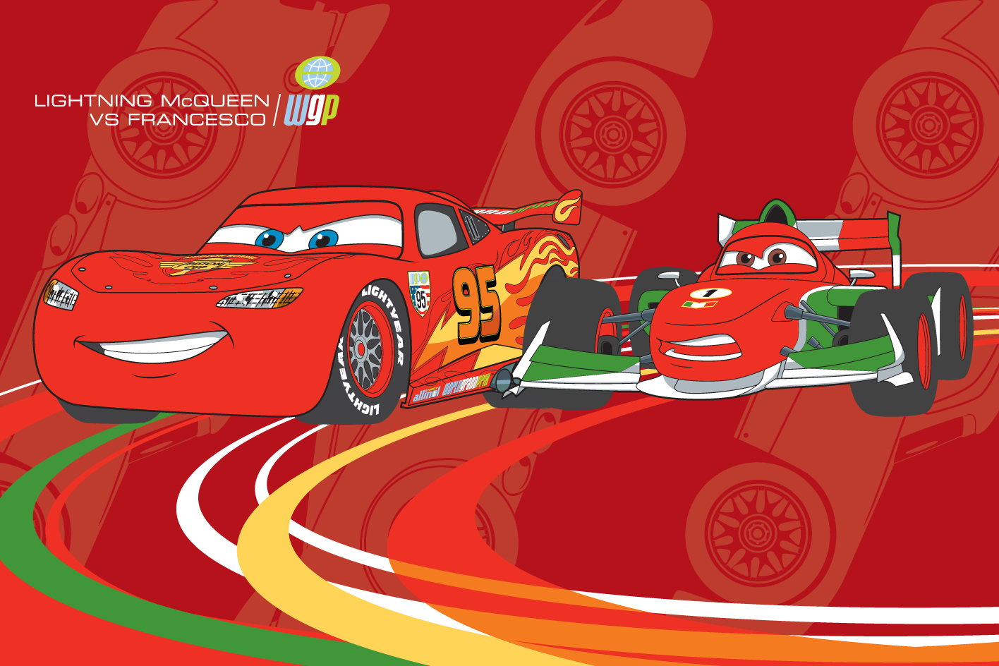 Covor Disney Kids Cars McQueen Drift, Imprimat Digital