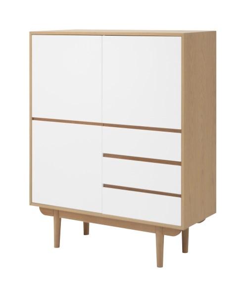 Cabinet din lemn si furnir cu 3 sertare si 3 usi Skaga White / Oak l1099xA40xH135 cm