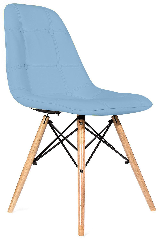 Scaun tapitat cu piele ecologica si picioare de lemn, Iars Blue, l41xA36xH83 cm