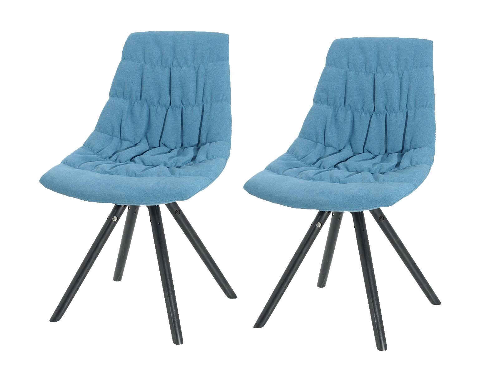 Set 2 scaune tapitate cu stofa cu picioare de lemn Klass Light Blue l47xA54xH80 cm