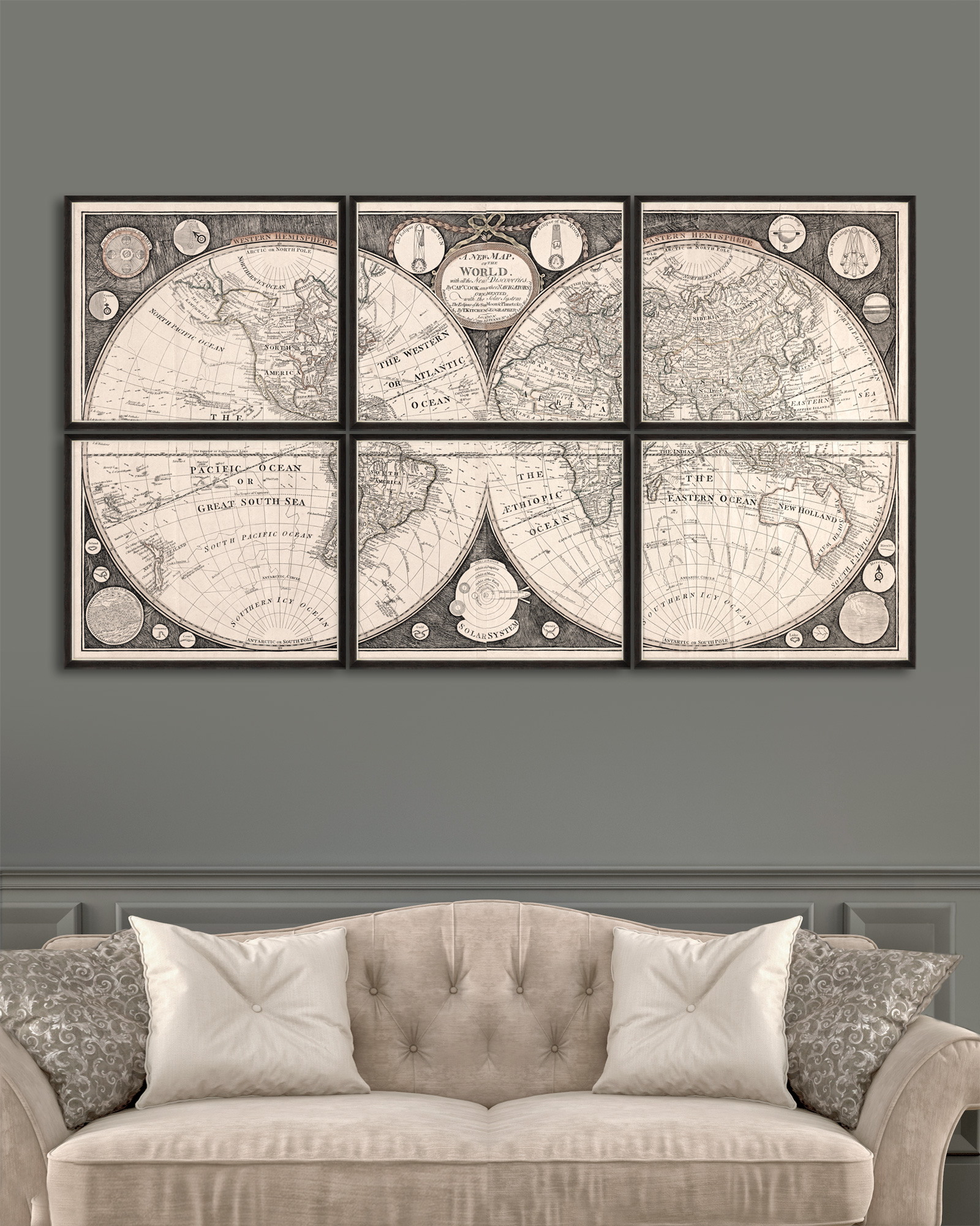 Tablou 6 piese Framed Art A New Map Of The World imagine