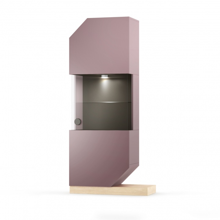 Cabinet din MDF si pal cu vitrina Nook Oak Violet / Natural l65xA39xH183 cm