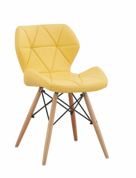 Scaun tapitat cu piele ecologica si picioare de lemn Provence Yellow l49xA53xH72 cm