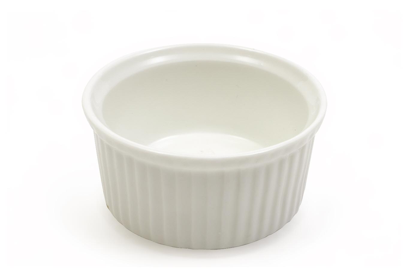 Set 12 Mini Boluri Souffle White Basics Ramekin Alb, Portelan, 7,5 cm