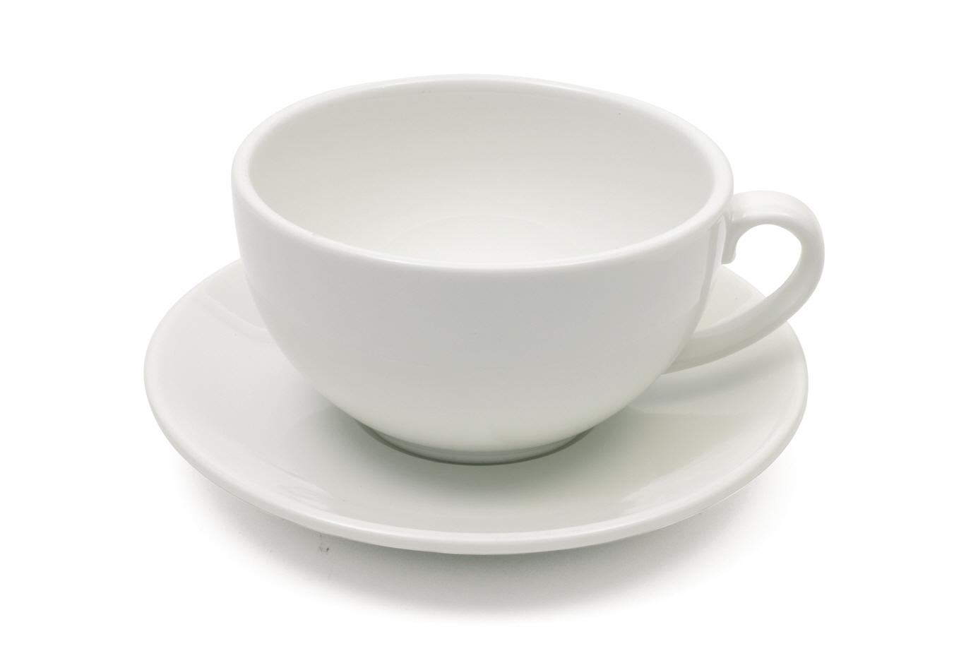 Set 4 Cesti cu farfurioare White Basics Cappuccino Alb, Portelan, 320 ml