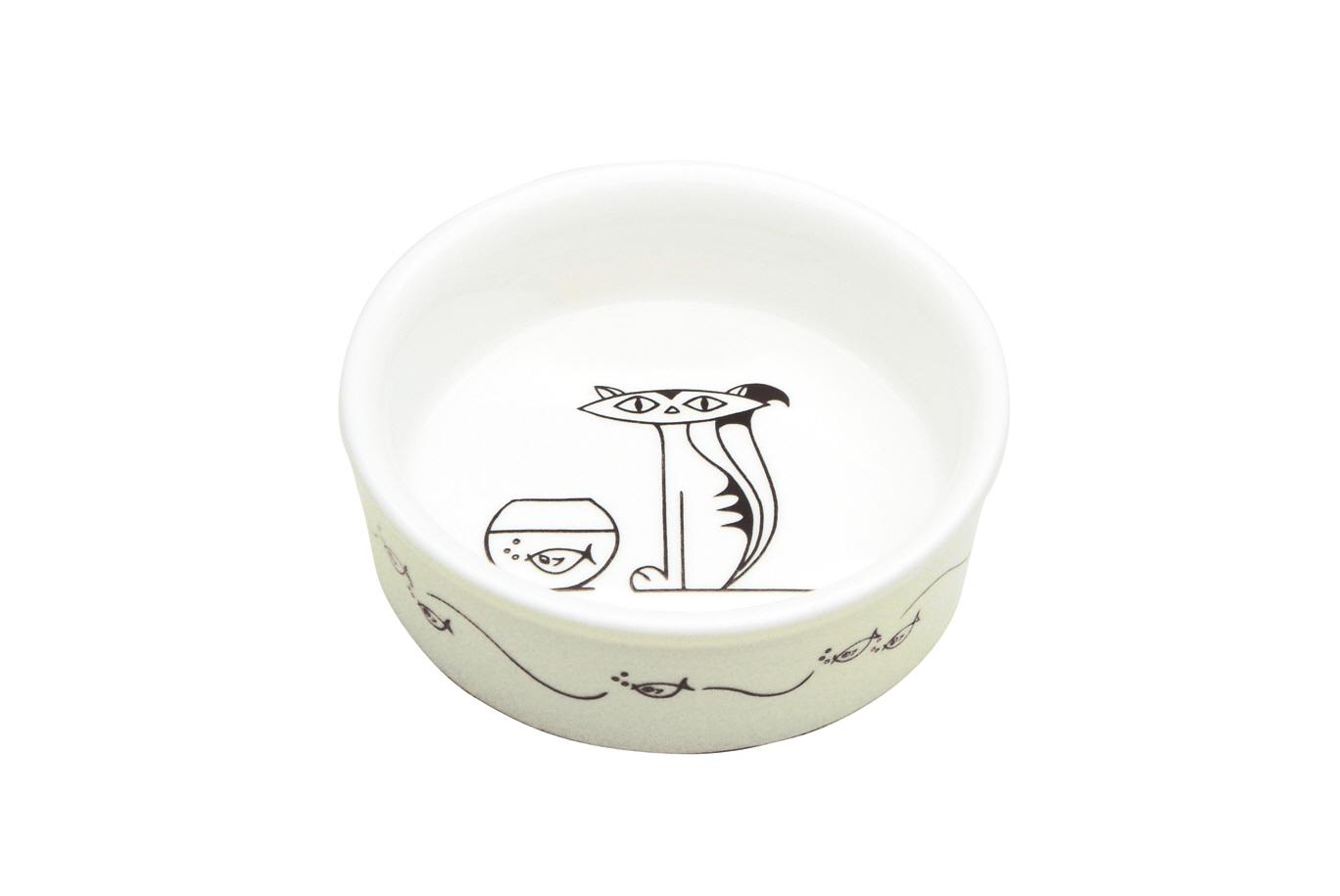 Bol White Basics Cat Bowl Alb  Portelan  15 Cm