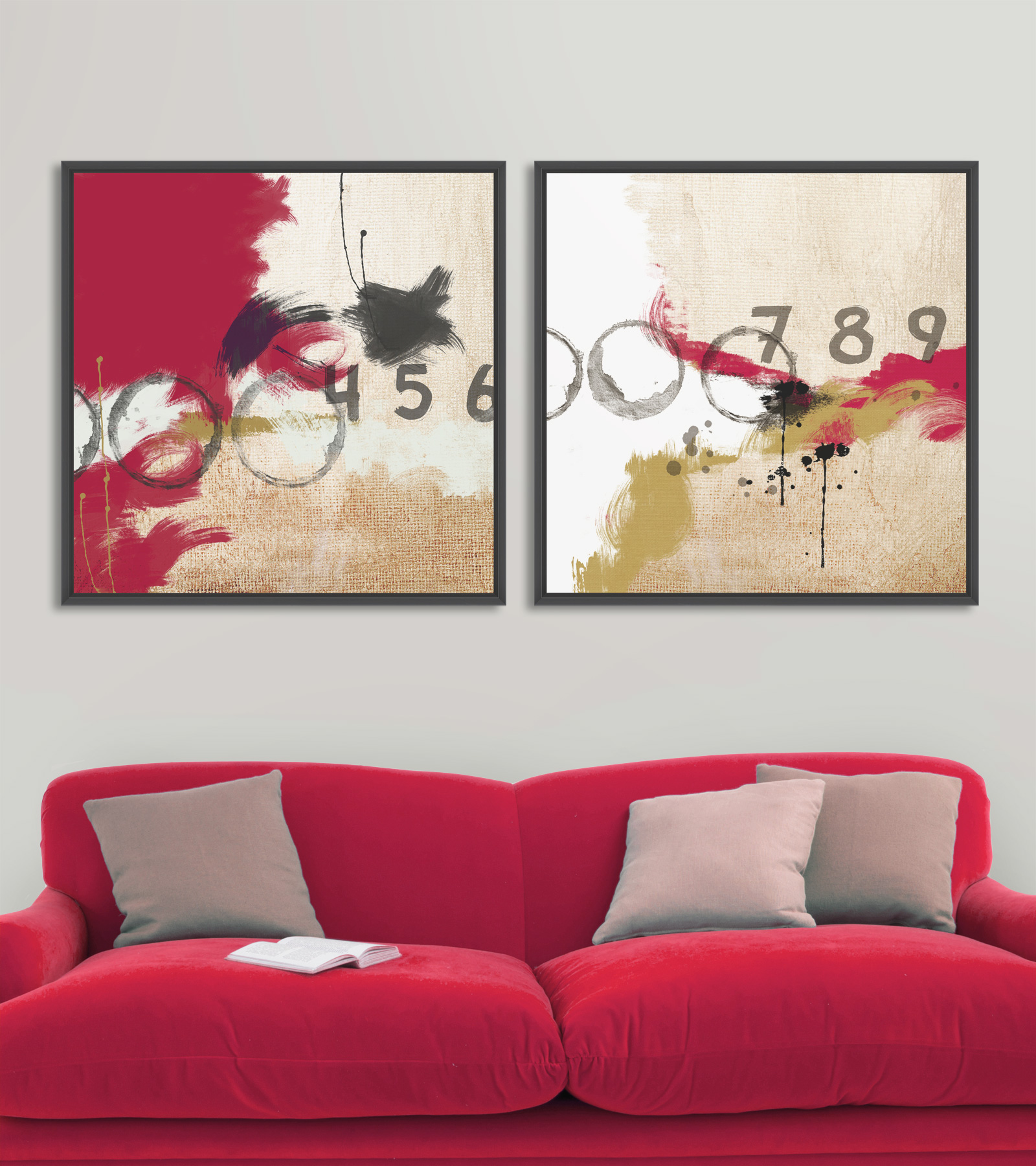 Tablou 2 piese Canvas Abstract Numbers imagine