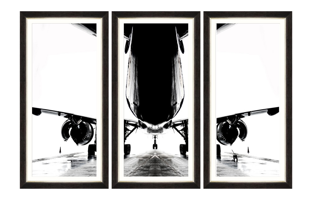 Tablou 3 piese Framed Art Aircraft Silhouette imagine