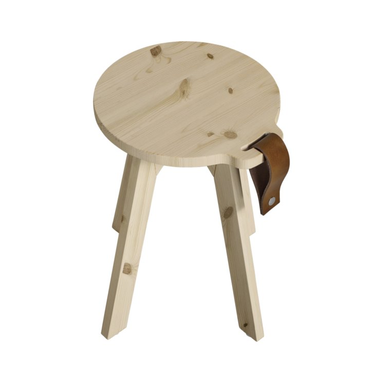 Taburet din lemn de pin Country Nature O40xH45 cm